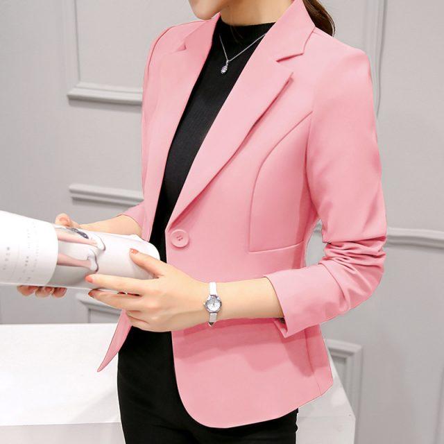 Elegant Business Lady Jacket New 2020 Women Full Sleeve Work Blazer Female Casual Coat Six Color Available