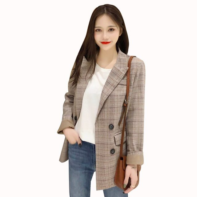 Women Plaid Blazer Jacket 2019 Spring Autumn Fashion Female OL Casual Loose Double Breasted Suits Jackets Outwear Coat Plus Size