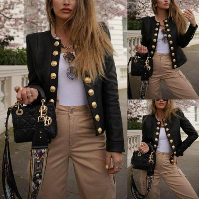 Women's Ladies Buttons Long Sleeve Jacket Short Coat Biker Casual Tops Office Ladies Black Blazer Suit Short Tops Outwear