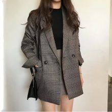 Women's check long sleeve cotton jacket causual vintage coat plaid  blazer