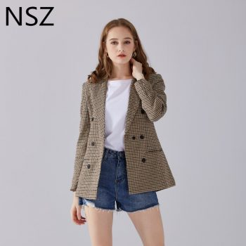 NSZ Women Elegant Plaid Blazer Suit Long Sleeve Double Breasted Slim Checked Coat Formal Office Work Jacket Houndstoot Outerwear