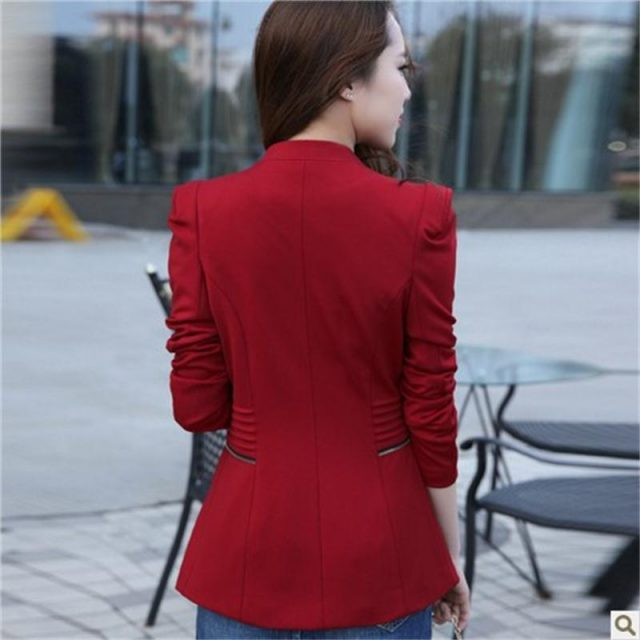 2018 New Fashion Women Solid Zipper Blazers Long Sleeve Slim Small Leisure Suit Jacket Female Brand Women Blazers 3Colors S-XXL