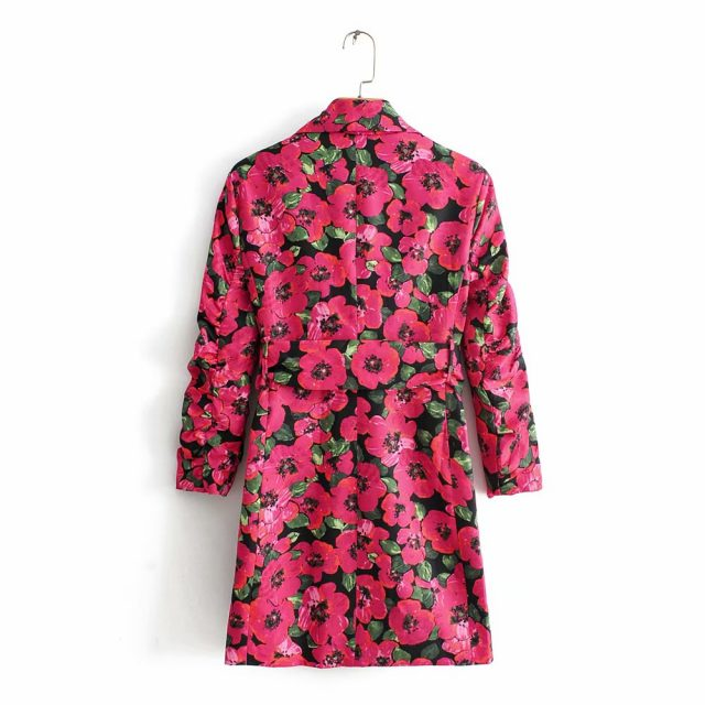 autumn blazer mujer vintage pink floral print long blazer boho sashes long sleeve korean women blazers and jackets 2019