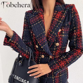 Glamaker Plaid tweed suit blazer Women gold buttons fashion warm winter blazer Female ladies elegant sexy american red blazer
