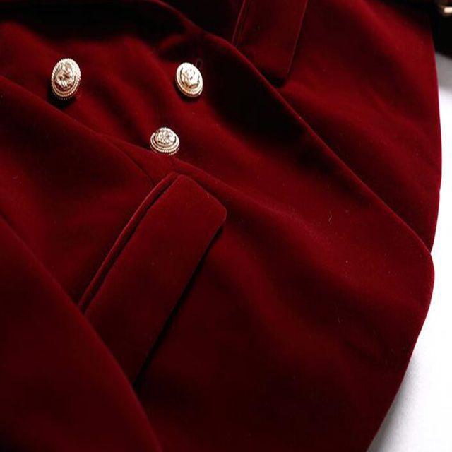 KoHuiJoo 2019 Spring Autumn Women's Blazers Long Sleeve Golden Button Slim Lady Velvet Jackets and Coats Black Wine Red M-2XL