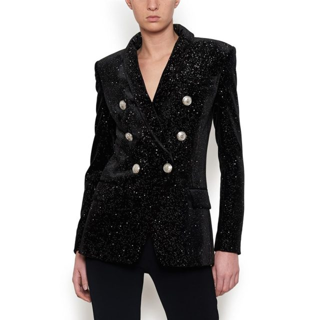 HIGH STREET Newest Baroque Fashion 2019 Designer Blazer Jacket Women's Shawl Collar Bling Star Velvet Blazer Coat