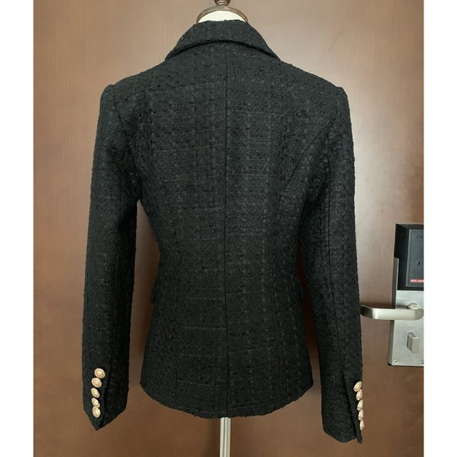 HIGH STREET Newest Runway 2019 Designer Blazer Women's Lion Metal Buttons Cotton Blend Tweed Blazer Coat