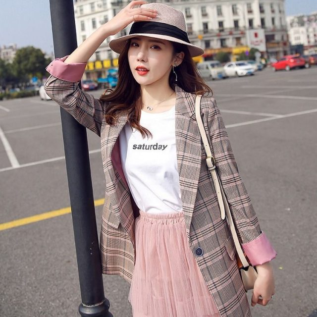 Vangull Women Plaid Blazer Long Sleeve Slim Checked Coat 2019 New Brand Formal Office Suit Lady Outerwear Spring Autumn Jacket