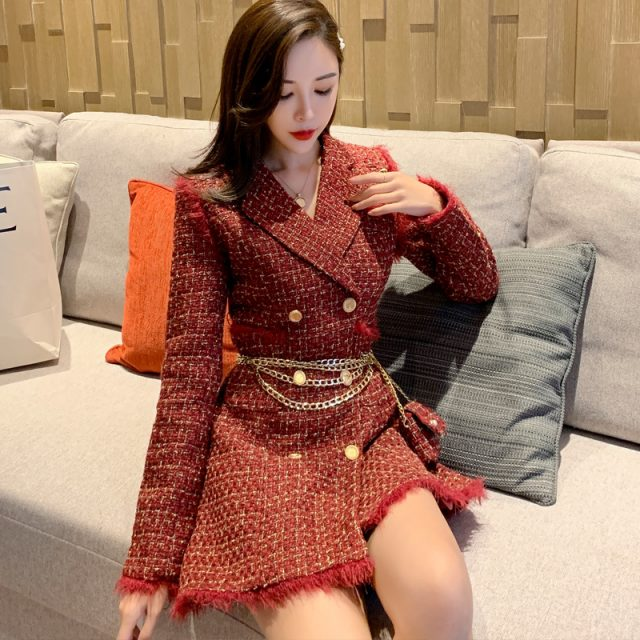 Women Red Tweed Plaid Blazer Golden Double Breasted Jacket Thick Long Woolen Suit Coat Fall Winter Outerwear With Chain Belt Bag