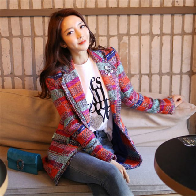 NEW Vintage Red Plaid Tweed Blazer Coat Women Single Button Tassel Suit Jacket Winter Casual Blazer Femme Slim Fit Outwear f1744