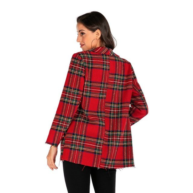 Plus Size 2019 Women Blazers and Jackets Plaid Slim Fit Blazer Casual Women Clothes Blazer