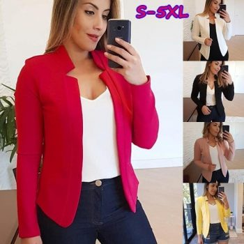 SWYIVY Women Blazers Short Solid Color Plus Size Jacket Cardigan Office Lady Suit Coat 5XL Spring Autumn Thin Long Sleeve Blazer
