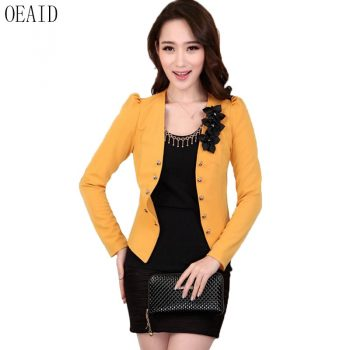 Plus Size Blazer Women Suit New 2019 Blazers Women Suits Short Slim Spring And Autumn Female Outerwear Black OEAID
