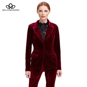 Bella Philosophy velvet blazer coat women suit blazer casual black coat female red blazer for ladies outwears