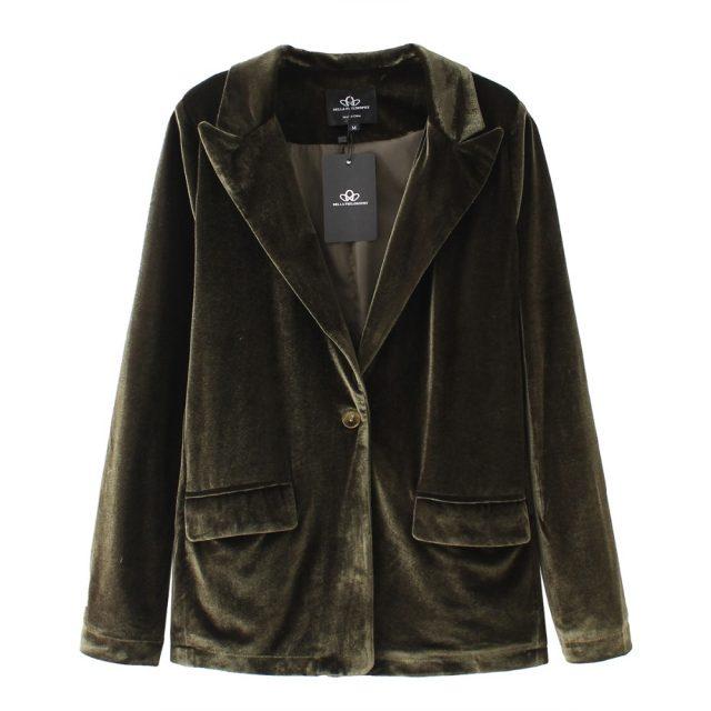 Bella Philosophy velvet blazer coat women suit blazer casual black coat female red blazer for ladies outwears