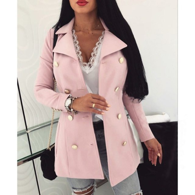 Plus Size S-5XL Women Slim Sexy Solid Autumn Long Sleeve Buttons Woolen Blazers Office Ladies Casual Business Suits SJ4474Y