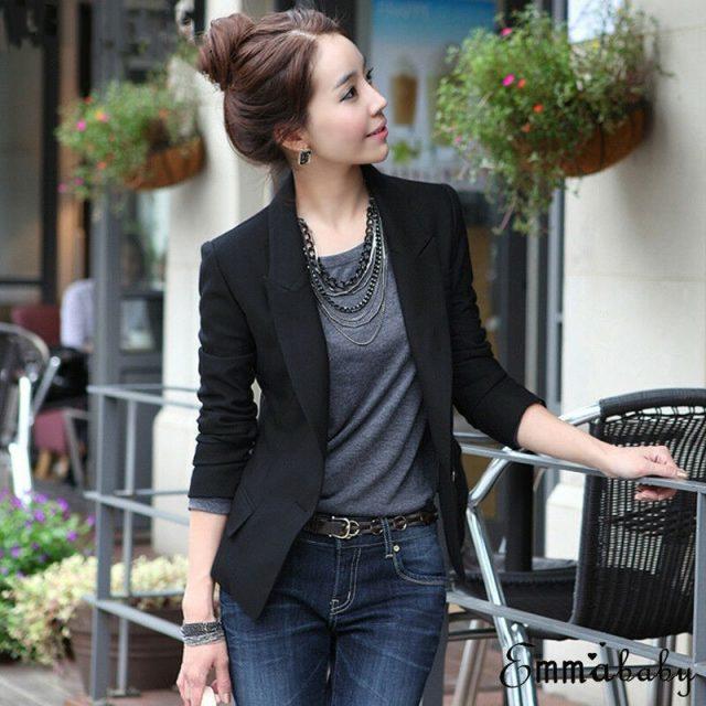 Robe Femme Hot Selling Women Slim OL Suit Casual Blazer Jacket Coat Tops Outwear Long Sleeve Plus Sized formal single button clo