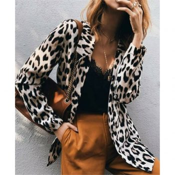 S-3XL Sexy OL Womens Leopard Print Long Blazers Long Sleeve Coat Jacket Ladies Autumn Cardigan Outwear Tops