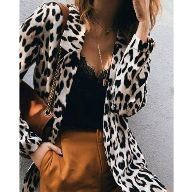 S-3XL Sexy OL Womens Leopard Print Long Blazers Long Sleeve Coat Jacket Ladies Autumn Cardigan Outwear Tops