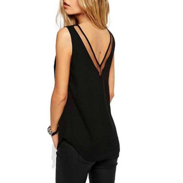 Fashion Chiffon Slim Loose V-Neck Sleeveless Vest Shirt Blouse Tops For Women Girls JS26