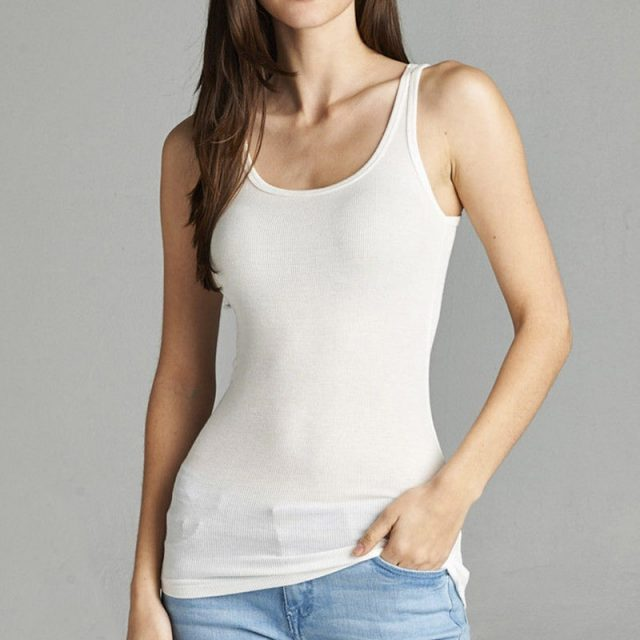 Casual  Cotton Fitness Stretch Basic Women Tank Top Workout Top Wholesale M30266