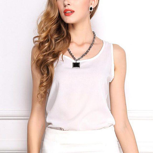 Hot Sale Slim Women Tank Tops Casual Thin Light Basic Style Women T-Shirt Sleeveless Chiffon Vest Ladies Clothing Fashion #30
