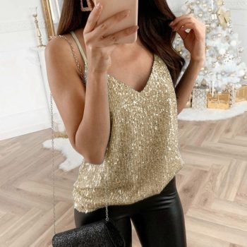 Womens  Tank Tops Glitter Strappy Ladies top Sexy Sparkle Cami Swing Vest Clubwear V Neck Cami Womens Clothing 2019 Hot