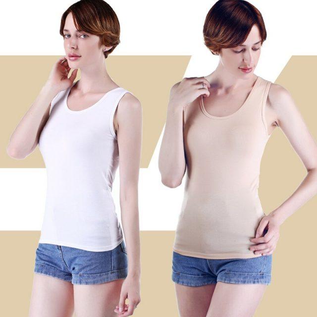 Elegant Summer Top Women Sex U Neck 95% Cotton Tanks  Slim Fit White Tops Sleeveless Female Shirt Oversized Singlet Streetwear