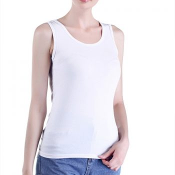 Elegant Summer Top Women Sex U Neck 95% Cotton Tanks  Slim Fit White Tops Sleeveless Female Shirt Oversized Singlet Streetwear