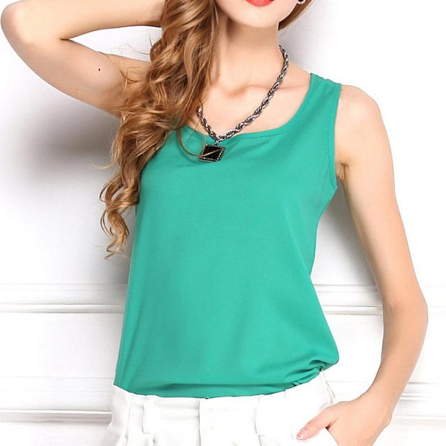 Sweet Candy-color Women Summer Tank Tops Femme Mujer Casual Loose Slim Chiffon Cute Camis Sleeveless O-neck Camisole Tops