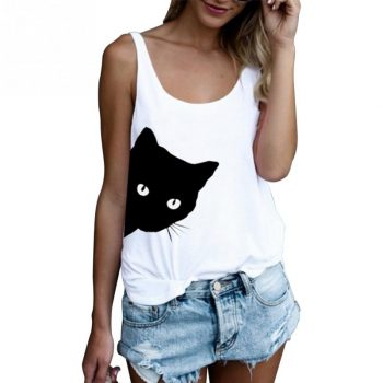 Summer Women Sleeveless T-shirts Casual Loose Tank Tops Ladies Cute Cat Print Round Neck Loose Camisole Autumn Bottoming Vest