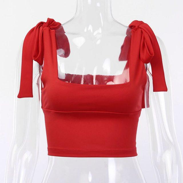 Viifaa Red Self Tie Shoulder Solid Streetwear Crop Tank Top Summer Women Square Neck Skinny Sleeveless Tank Tops