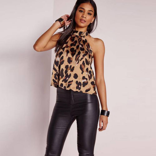 Hirigin Womens Sexy Leopard Print Halter Neck Sleeveless Button Cami Vest Evening Party Tops