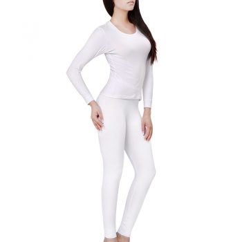 Women's Cotton Long Johns Set Winter Thermal Underwear 4XL 5XL 6XL Round-Neck Long Sleeve Ladies Body Shaping Pajama Set 2452