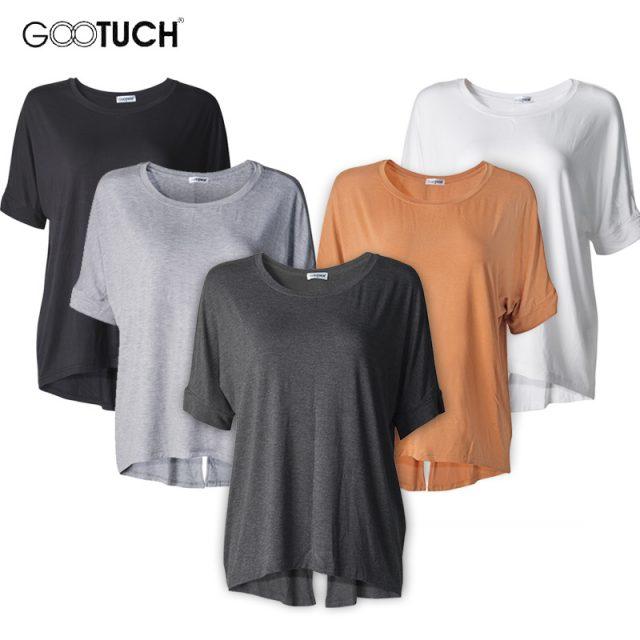 2019 Summer Womens Batwing Sleeve T-Shirt Plus Size Back Split Loose TShirt Famale Modal Basic Top Short Bat Sleeved Shirts 2298