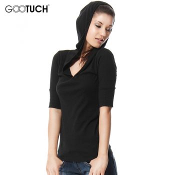 Fashion Womens Plus Size T-Shirt 4XL 5XL Hooded T Shirt V Neck Women Top Tees Ladies Shirt Ropa Mujer Hoodies Sweatshirt 2258