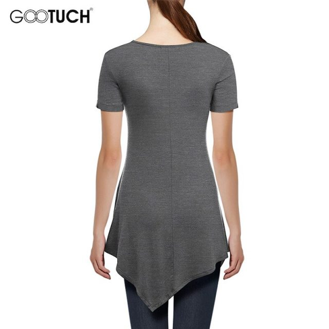 2019 Summer Asymmetric design T-Shirt Women's Casual Short Sleeves TShirt Irregular Hem Tops Ladies Plus Size Long T Shirts 2545
