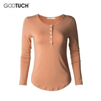 European American Style Womens Cotton T-shirt Long Sleeve T Shirt Undershirt Button Down Plus Size Tops Tees Casual Shirts 2335