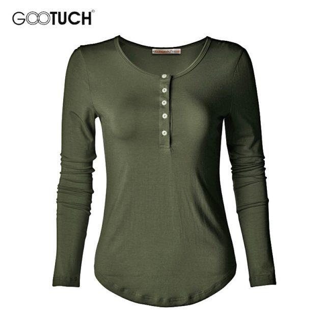 European American Style Womens Cotton T-shirt Long Sleeve T Shirt Undershirt Button Down Plus Size Tops Tees Casual Shirts 2335