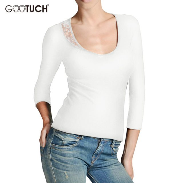 Women's Sexy Lace T-Shirts Low Cut Neck Women Solid Three Quarter Sleeve Female Tops Tee 5XL 6XL Ladies Plus Size T Shirt 7438