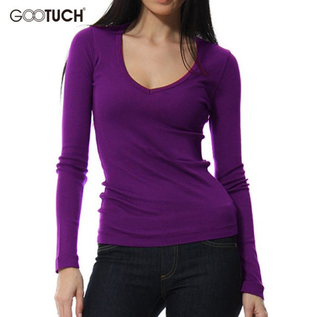 Womens T-shirt Long Sleeve Modal Undershirt Ladies Sexy Low-Cut Stretch Top Tees Solid Color European Style Plus Size Shirts 302
