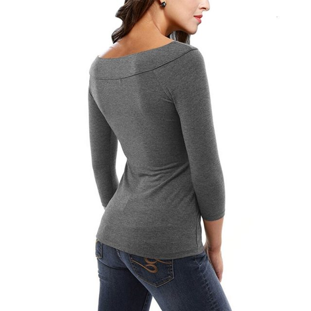 Womens Casual Cotton T-Shirts O Neck Women Solid Color Female Three Quarter Sleeve Tops Tee Female Plus Size T Shirt 5360