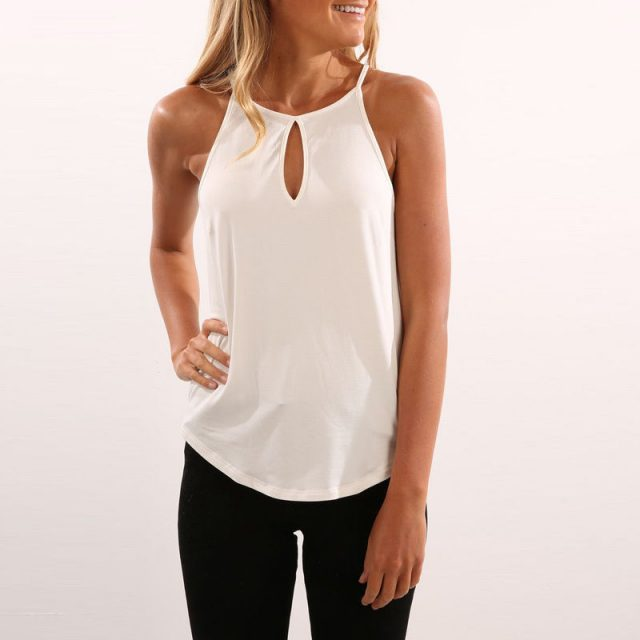 Fashion Causal Tank Top 2019 New Women Ladies Summer Tanks Tops Sleeveless V-Neck Halter Solid Tanks Tops Beach Style Size S-XL