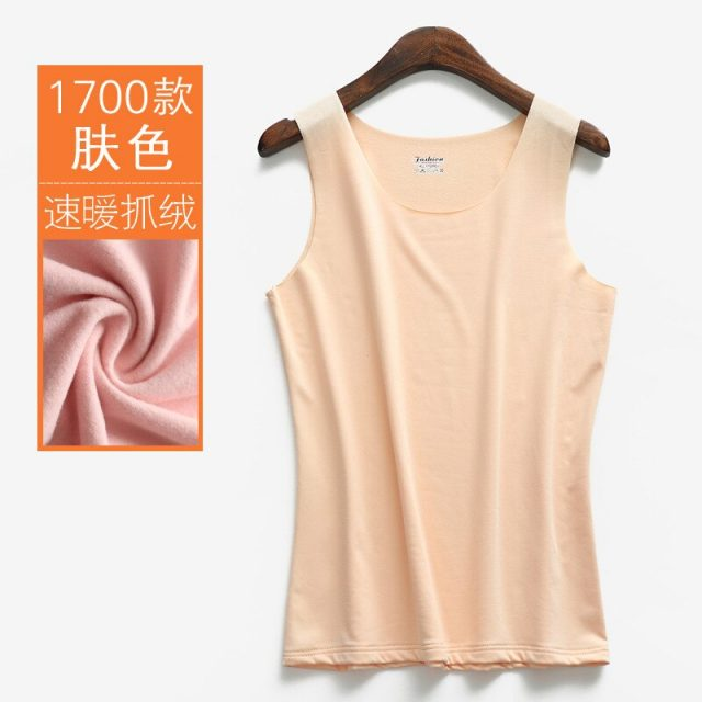 New Women Autumn Winter Tanks Warm Thick Velvet Tank Female Slim Sleeveless Vest All Match Underwear Solid Soft Camis Tops