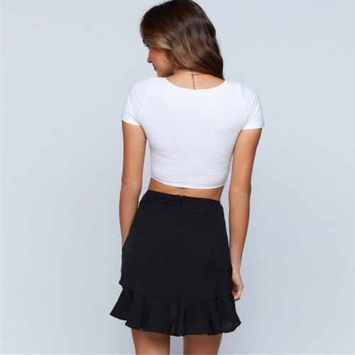 Womens Short Sleeve Button Crop tops Ladies Sexy U neck Plain basic Tanks Party bodycon Tank Top stretch Vest Tee tunique