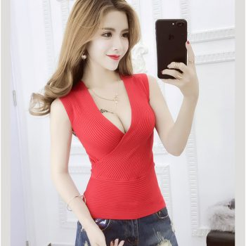 Active wear Female Sexy Deep V-Neck Vest Elastic Ladies Knitted Bottoming Sweater sleeveless Slim Women's Tank Tops Solid color