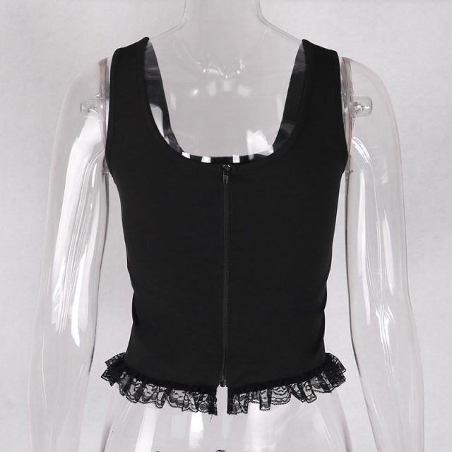Goth Dark Grunge Black Tank Tops Gothic Transparent Hollow Out Crisscross Bandage Top Summer Sexy Fashion Mesh Ruch Ruffle Tops