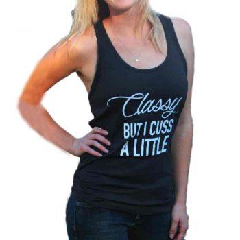 FEITONG Classy but I Cuss a Little Womens Letter Print Shirt Sexy Sleeveless Tops T-Shirt Women Tops