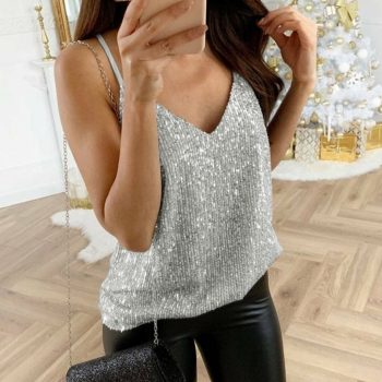 Womens tank top Sequin Glitter Strappy Tank Tops Ladies Sexy Sparkle Camis v-neck Swing Vest Clubwear party night tanks dropship