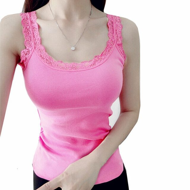2019 Newest Summer Girl Women Lace Top Tank  Cotton Camisole Cami Shirt Ladies Sexy Slim Vest Tops sleeveless T shirt
